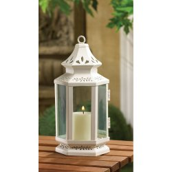 Elegant Small White Victorian Design Candle Lantern