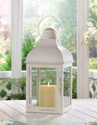Elegant Soft White Large Gable Candle Lantern Centerpiece w/ Doom Roof