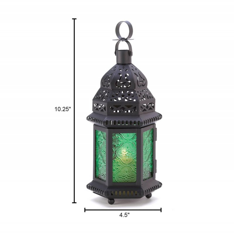 Image 2 of Emerld Green Glass Moroccan Style Candle Lantern