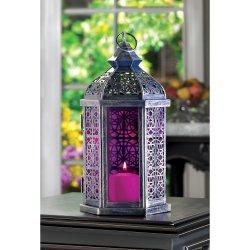 Enchanted Fuschia Pink Lantern Pewter Finish