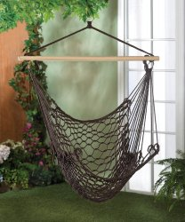 Espresso Brown Cotton Net Hammock Garden, Patio, Porch Swing Chair