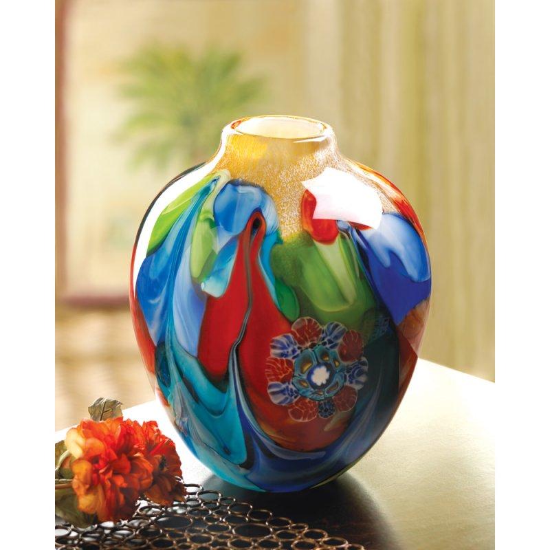 Image 0 of Floral Fantasia Art Glass Hand Crafted Jug Vase
