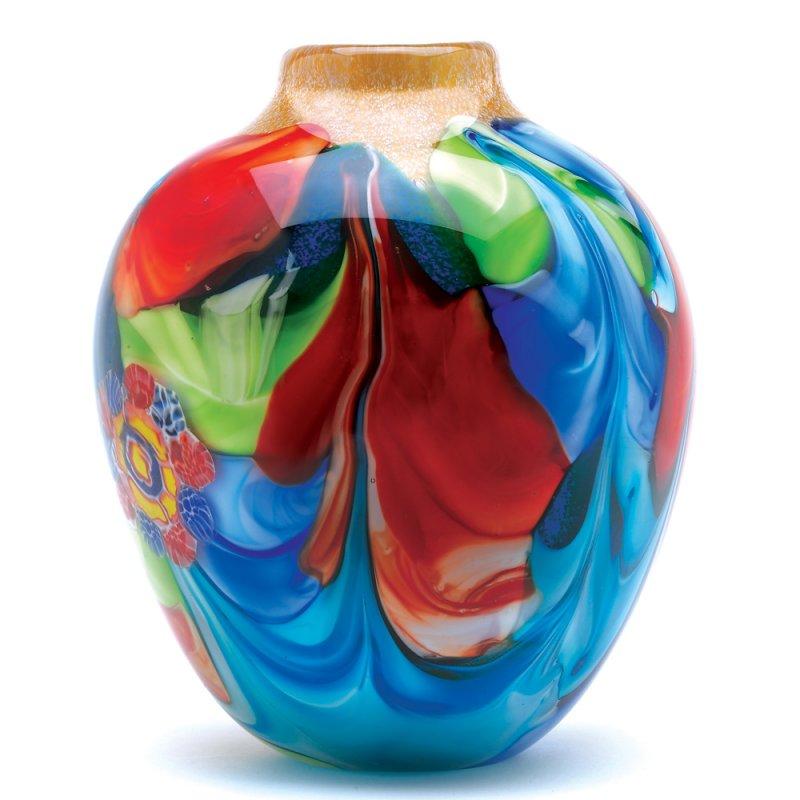 Image 1 of Floral Fantasia Art Glass Hand Crafted Jug Vase