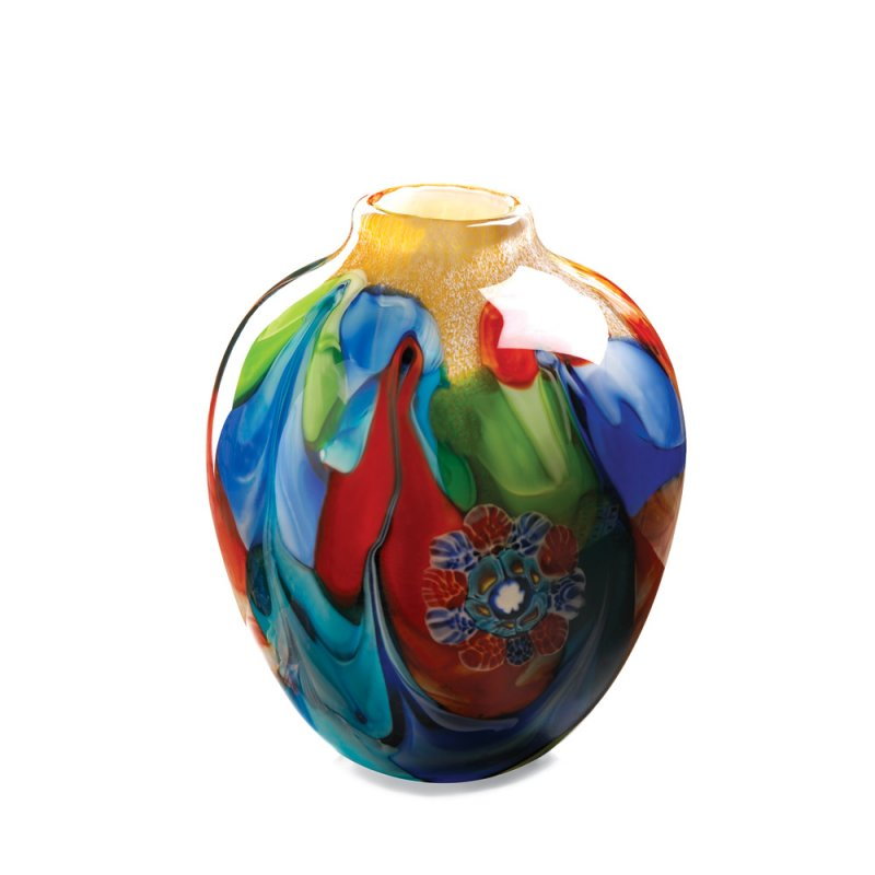 Image 2 of Floral Fantasia Art Glass Hand Crafted Jug Vase