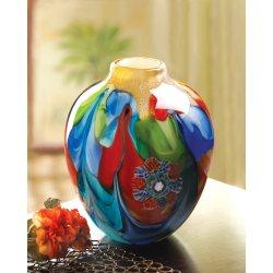 Floral Fantasia Art Glass Hand Crafted Jug Vase