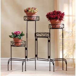 Four Tier Plant Stand Adjustable Screen Black Finish