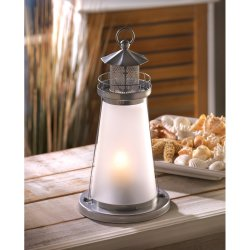 Frosted Glass Lookout Lighthouse Candle Lamp Lantern