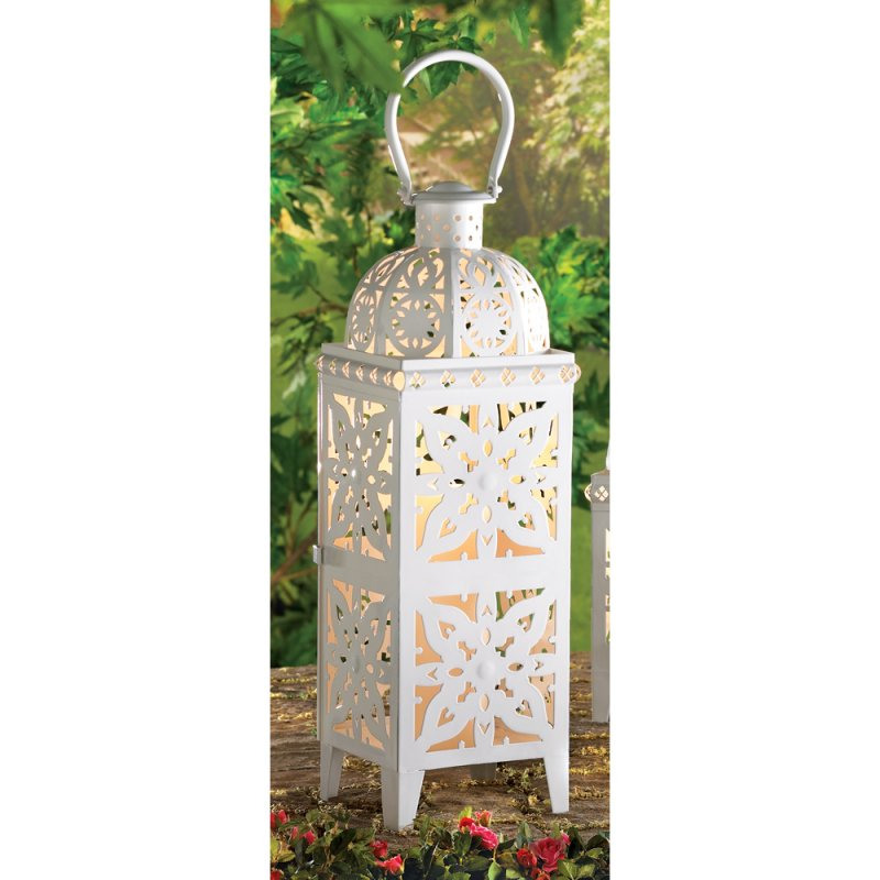 Image 0 of Giant White Lacy Cutout Medallion Lantern 25 in. Tall