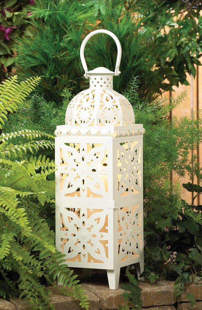 Image 1 of Giant White Lacy Cutout Medallion Lantern 25 in. Tall