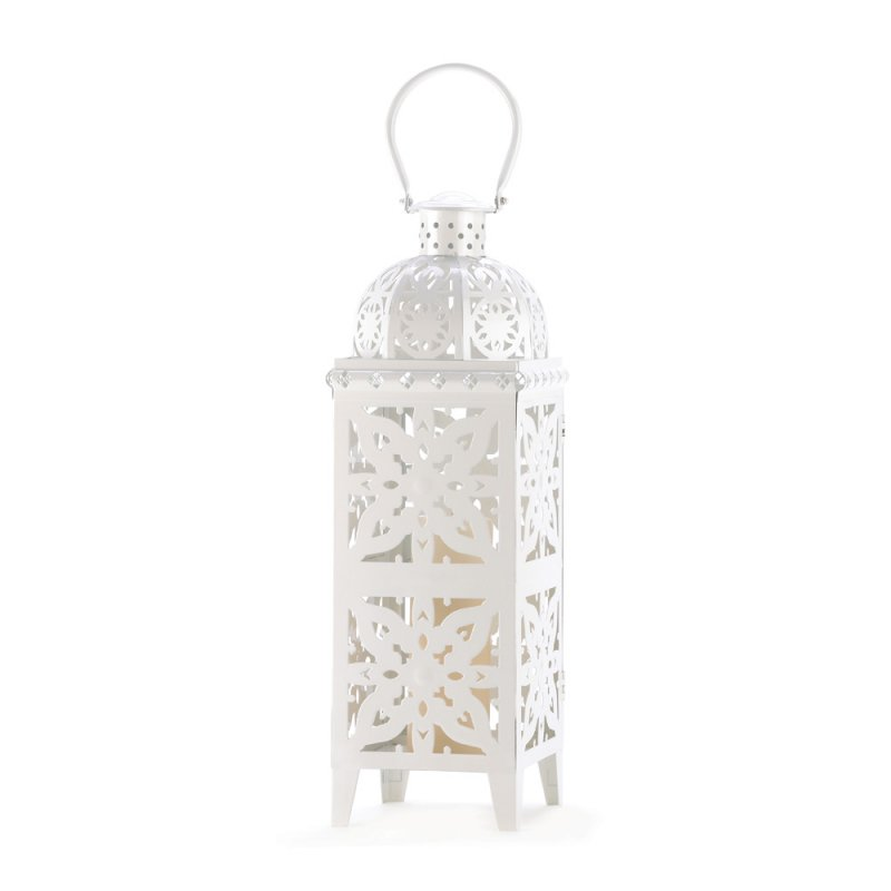Image 2 of Giant White Lacy Cutout Medallion Lantern 25 in. Tall