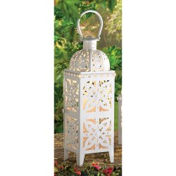 Giant White Lacy Cutout Medallion Lantern 25 in. Tall