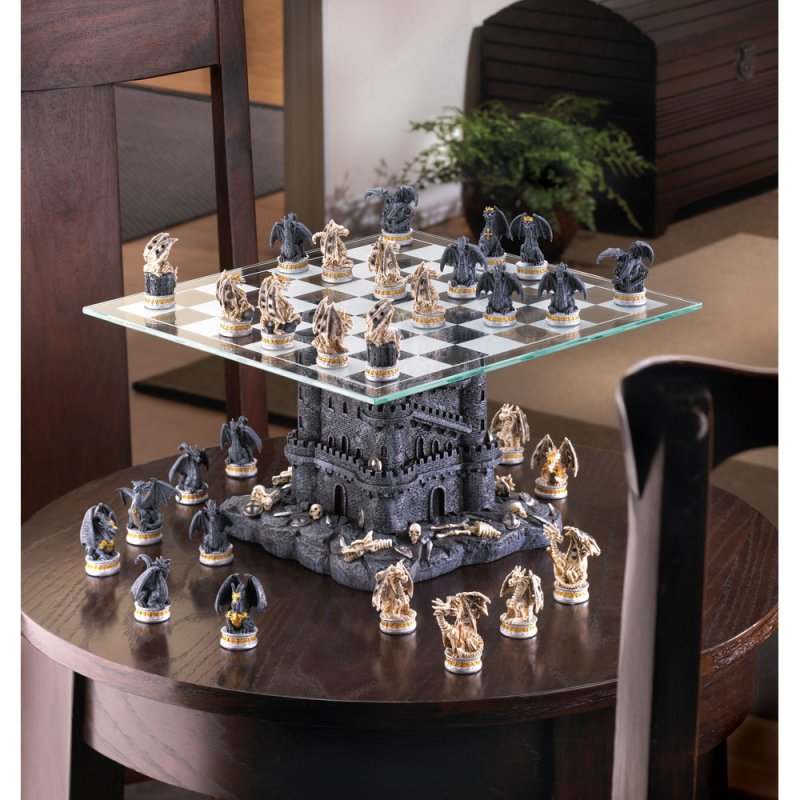 Image 1 of Gothic Black Dragon & Skulls Chess Set Glass Board Sits On Tower Castle