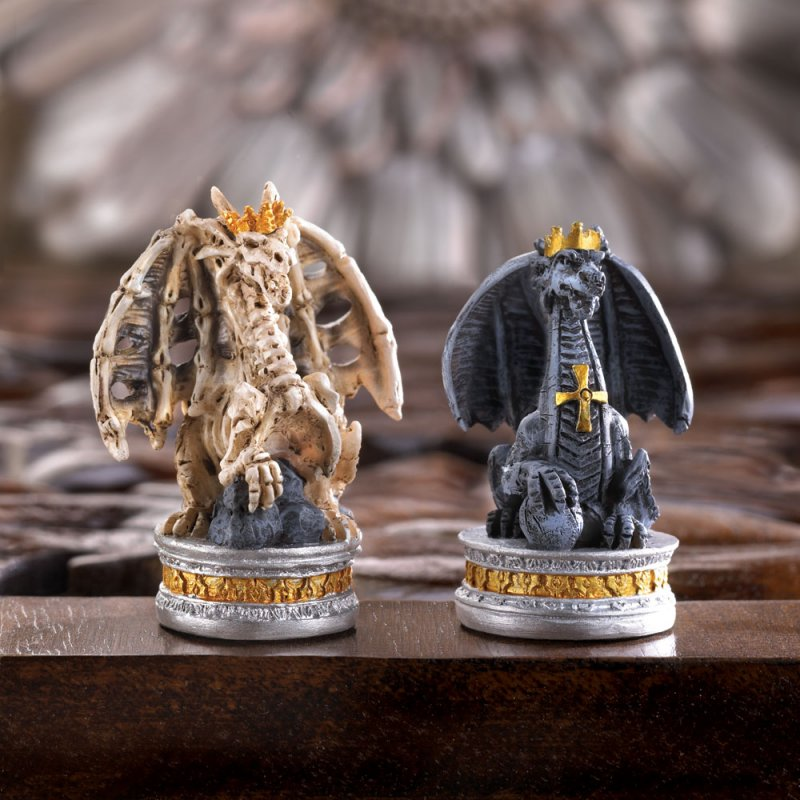 Image 2 of Gothic Black Dragon & Skulls Chess Set Glass Board Sits On Tower Castle