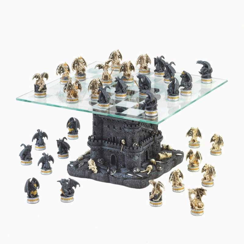 Image 0 of Gothic Black Dragon & Skulls Chess Set Glass Board Sits On Tower Castle