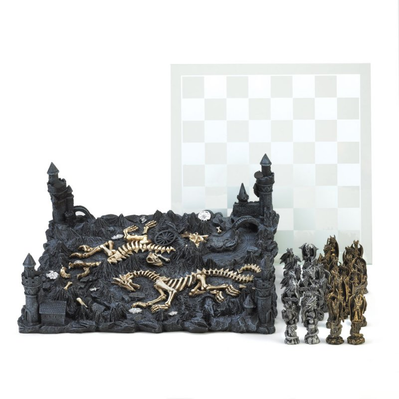 Image 2 of Gothic Black Dragon Chess Set Glass Board Sits On Four Towers Of Kingdom
