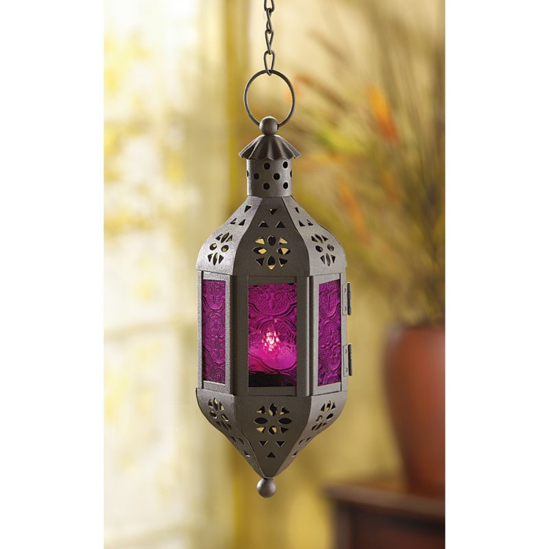 Image 1 of Hanging Mystical Moroccan Purple Glass Candle Lantern