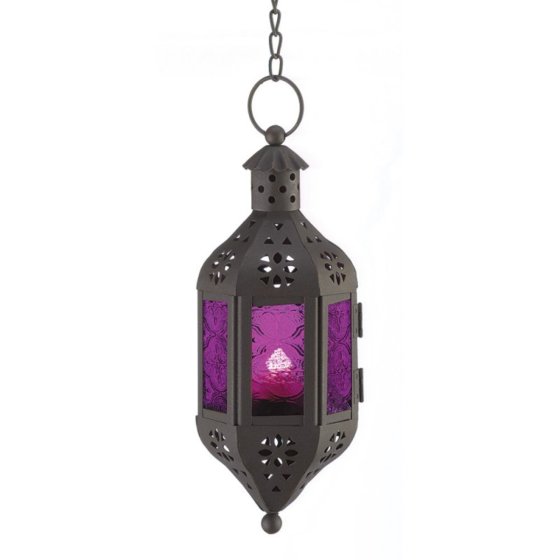 Image 0 of Hanging Mystical Moroccan Purple Glass Candle Lantern