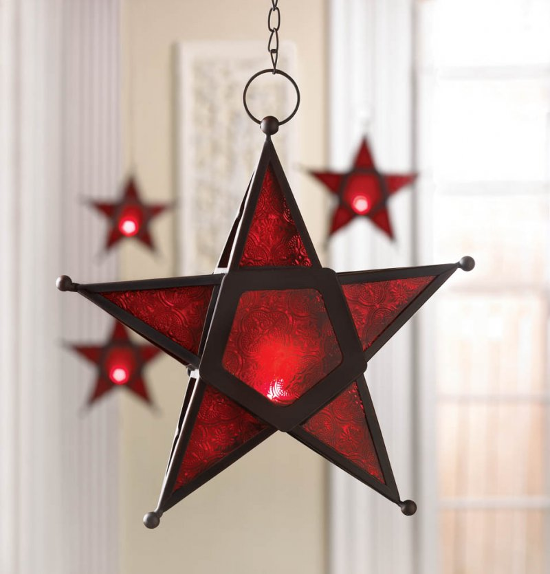 Image 0 of Hanging Red Glass Star Candle Lantern Iron & Glass