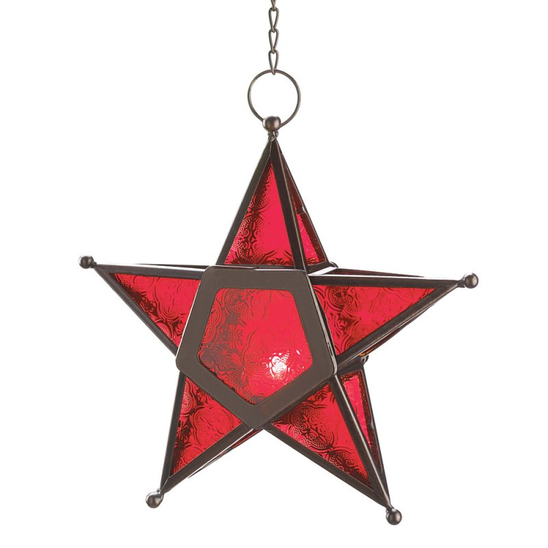 Image 1 of Hanging Red Glass Star Candle Lantern Iron & Glass