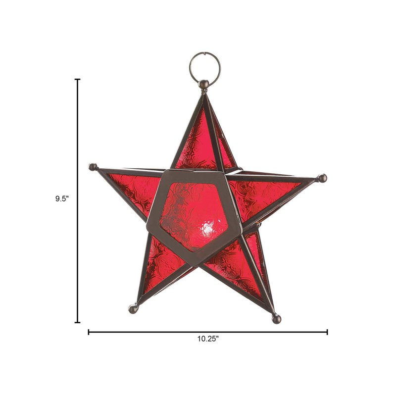 Image 2 of Hanging Red Glass Star Candle Lantern Iron & Glass