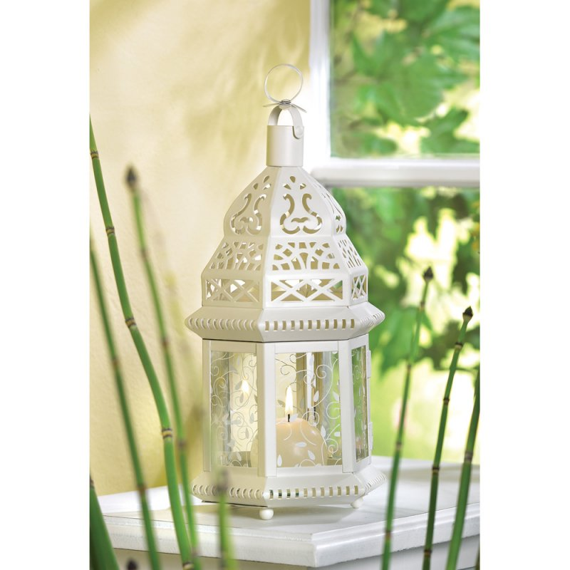 Image 0 of Ivory Scrollwork Moroccan Candle Lantern Wedding Centerpiece