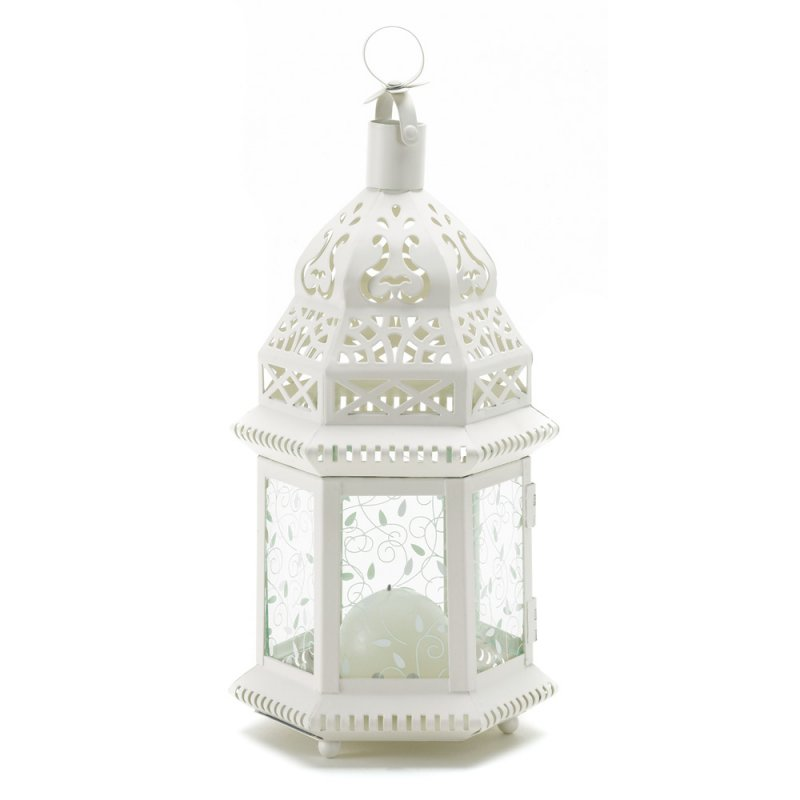 Image 1 of Ivory Scrollwork Moroccan Candle Lantern Wedding Centerpiece
