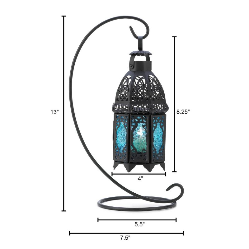 Image 2 of Lacy Sapphire Blue Hanging Lantern on Stand