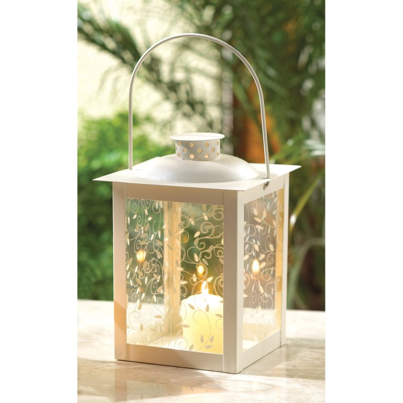 Image 0 of Large Ivory Vine Design Candle Lantern Wedding Centerpiece