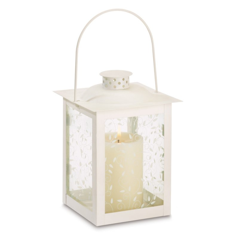 Image 1 of Large Ivory Vine Design Candle Lantern Wedding Centerpiece