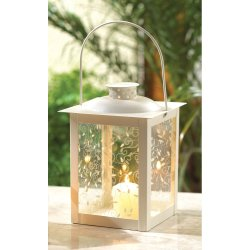 Small Ivory Vine Design Tabletop Candle Lantern