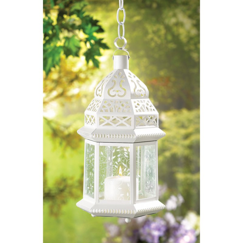Image 0 of Large Lacy Ivory Moroccan Candle Lantern Wedding Centerpiece