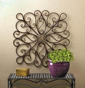 Image 1 of Large Modern Iron Scrollwork w/ Metallic Ornament in Center Wall Decor