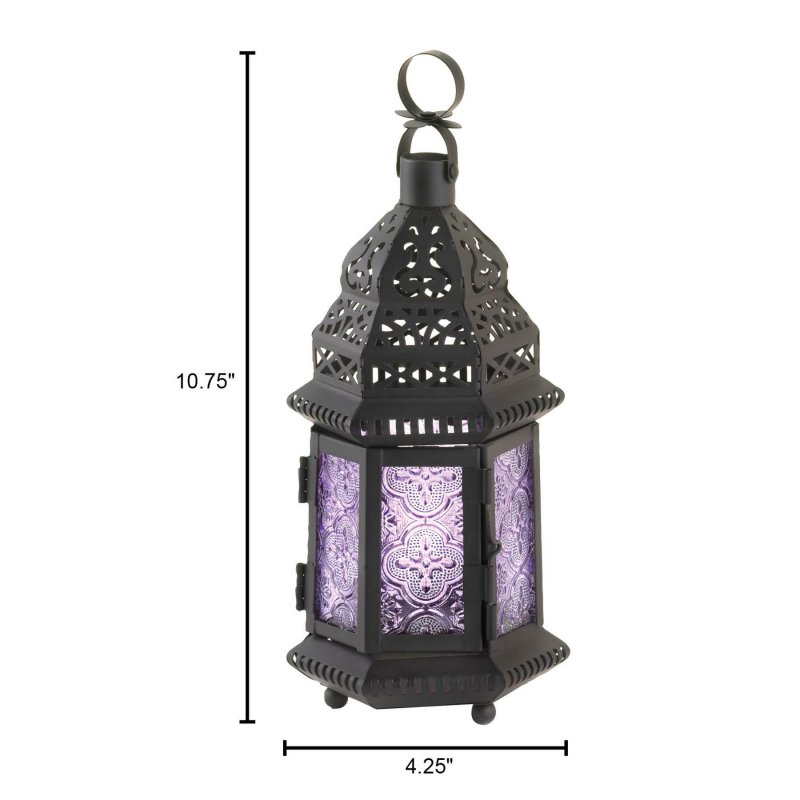 Image 3 of Light Purple Pressed Glass Moroccan Style Candle Lantern w/ Intricate Cutouts