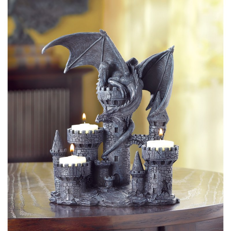 Image 0 of Medieval Gothic Dragon & Castle Tealight Candle Holder Figurine