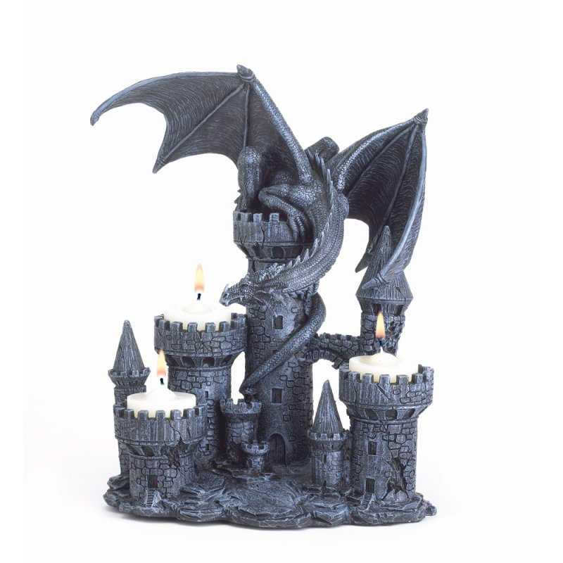 Image 1 of Medieval Gothic Dragon & Castle Tealight Candle Holder Figurine