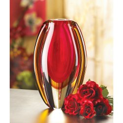 Modern Sunfire Red & Gold Decorative Glass Vase