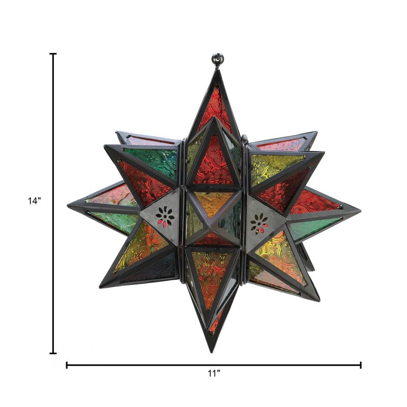 Image 2 of Moroccan Style Multi Color Star Hanging Candle Lantern