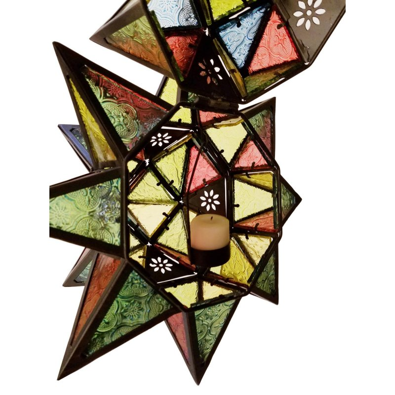 Image 3 of Moroccan Style Multi Color Star Hanging Candle Lantern