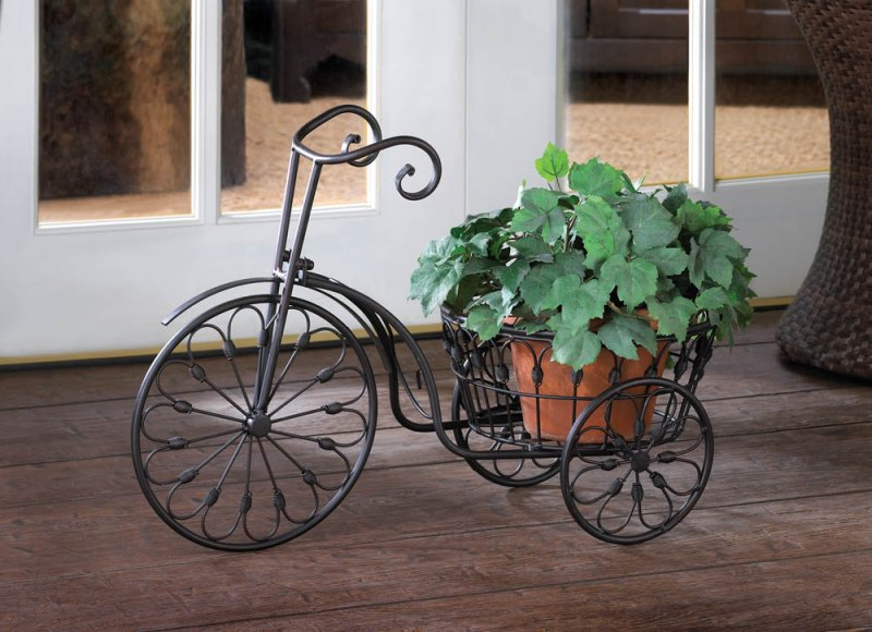Image 0 of Old Fashioned Wrought Iron Swirls Bicycle Plant Stand