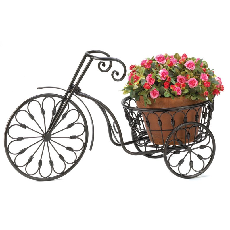 Image 1 of Old Fashioned Wrought Iron Swirls Bicycle Plant Stand