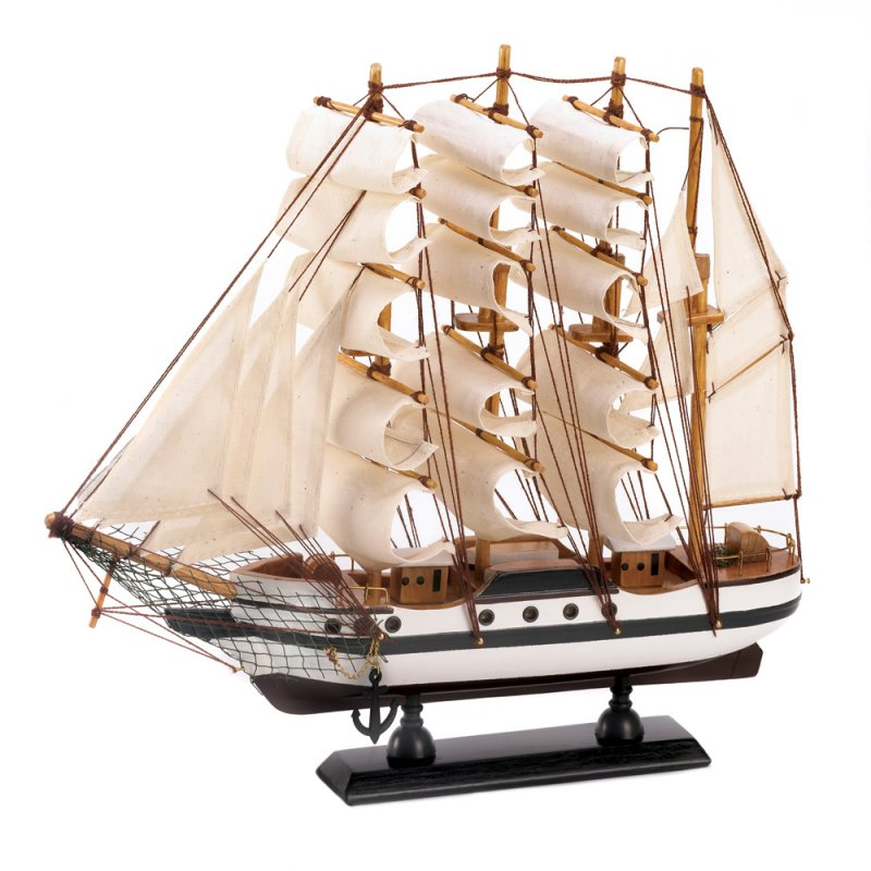 Image 1 of Passat Tall Ship Model Wood & Canvas Brass Rails Nautical Decor
