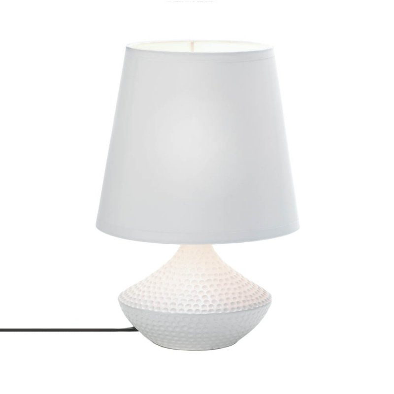 Image 1 of Pebble Beach Mini White Ceramic Modern Table Lamp with Oversized White Shade