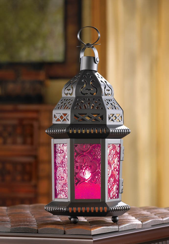Image 0 of Pink Fuchsia Glass Moroccan Design Candle Lantern