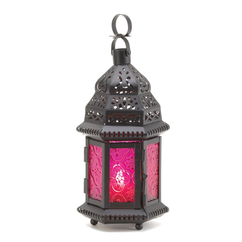 Image 1 of Pink Fuchsia Glass Moroccan Design Candle Lantern