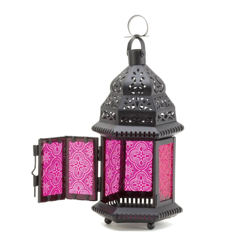 Image 2 of Pink Fuchsia Glass Moroccan Design Candle Lantern