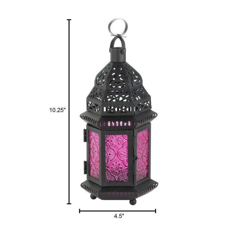 Image 3 of Pink Fuchsia Glass Moroccan Design Candle Lantern