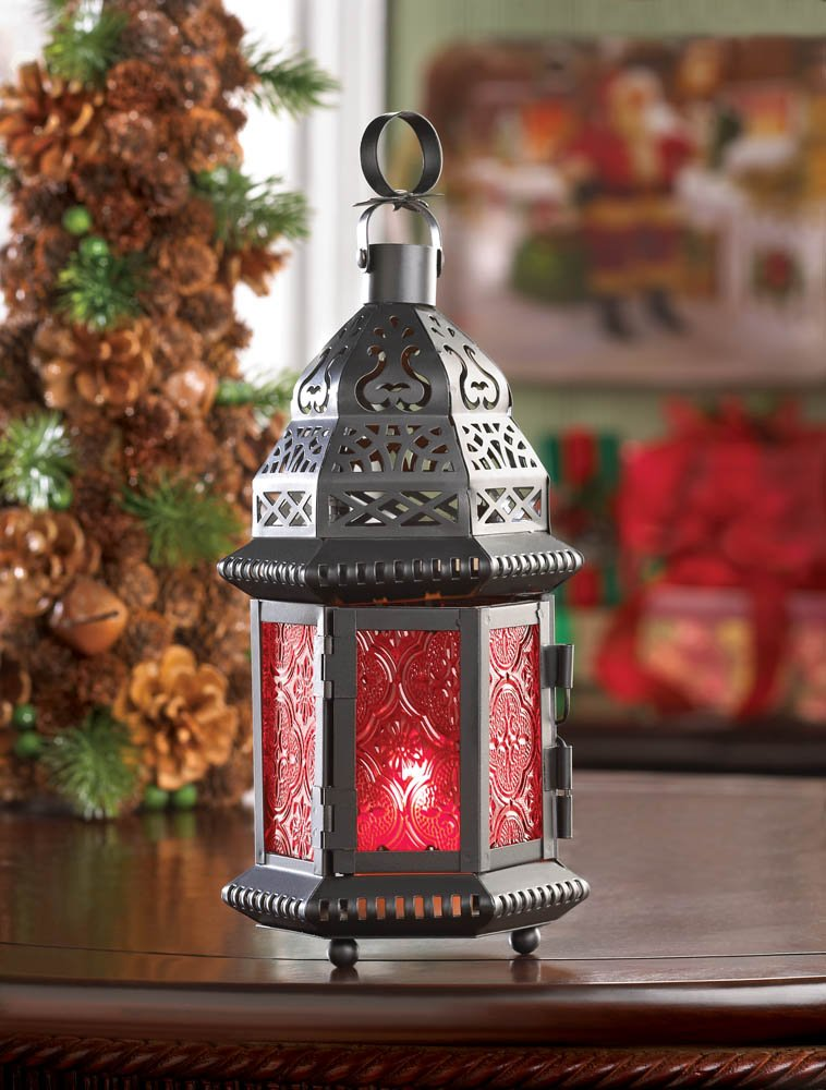 Image 1 of Red Glass Moroccan Style Lacy Cutouts Candle Lantern