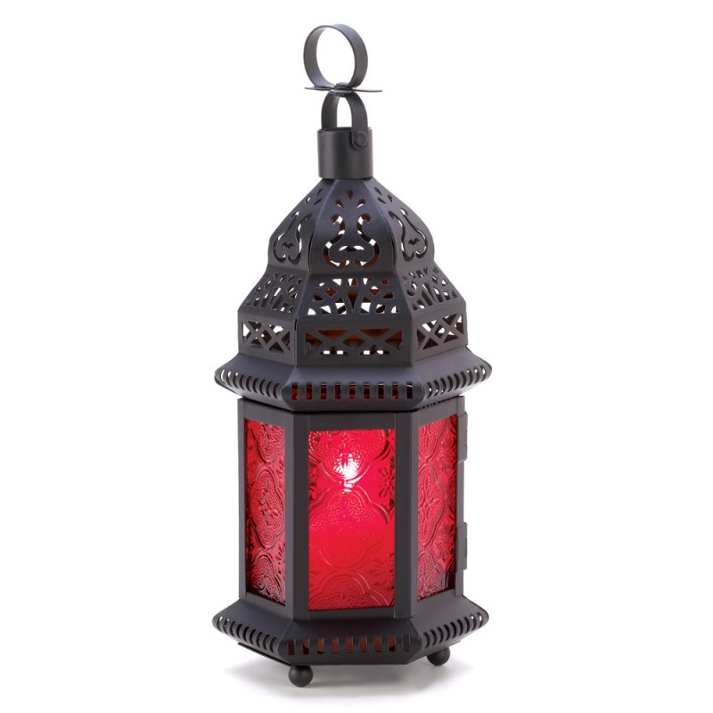 Image 2 of Red Glass Moroccan Style Lacy Cutouts Candle Lantern