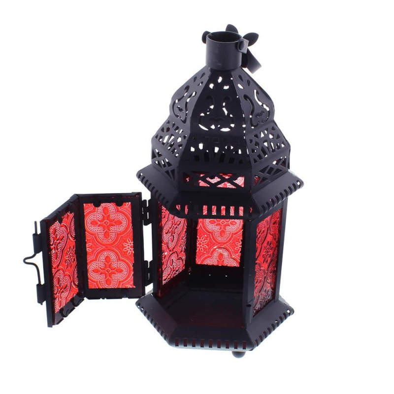 Image 3 of Red Glass Moroccan Style Lacy Cutouts Candle Lantern