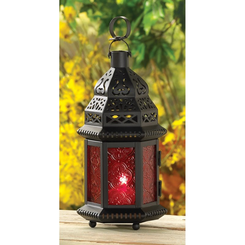 Image 0 of Red Glass Moroccan Style Lacy Cutouts Candle Lantern